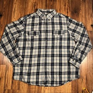 Faded glory blue and gray plaid flannel shirt XL